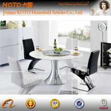 Metal base round quartz stone top dining tables
