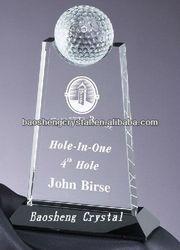 Sandblasting black base 3d crystal golf trophy for souvenirs(BS-TR3d)