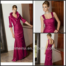 2014 New Design Elegant A-line Floor Length Pleated 3/4 Sleeves with Jacket Taffeta Mother of the Bride Dress M057