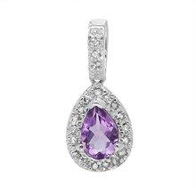 Exquisite Pendant With 0.70ctw Precious Stones - Genuine Amethyst and Diamonds in 10K White Gold