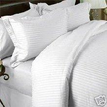 600 TC EGYPTIAN COTTON DEEP POCKET STRIPE SHEET SET KING WHITE BEST FOR HOTELS & HOSPITALS, HOMES