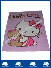 microfiber soft folded edge kitty cat printed baby/kids/children coral Fleece Throw