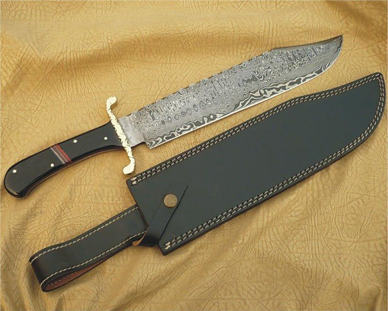 Acero de damasco cuchillo de Bowie