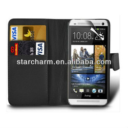 Hot Sell! Wallet Leather Case Cover for HTC One M7,Fast Delivery