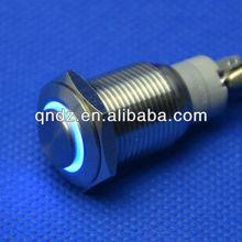 QN16-C2 16mm blue led high head latching car push button switch DC 12V waterproof