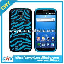 Blue Zebra Silicone+PC Hard Case Cover for samsung galaxy s4