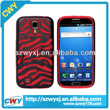 Zebra High Impact Combo Hard Rubber Red Case For Samsung Galaxy i9500 S4