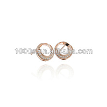 Round crystal plated rose gold Silver Earrings