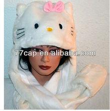 Fashion ladies funny Hello Kitty long faux fur animal hats