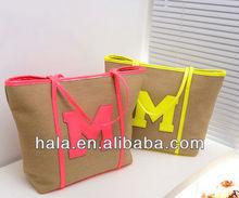 H75 2013 hemp cotton handbags big m Word fluorescent colour shoulder bags canvas handbag factory direct