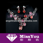 Newest Design Red Garnet Rhinestone Fashion Jewelry Set