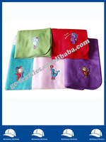 whip-stitching solid polar Fleece Throw with logo appliqued/baby fleece blanket