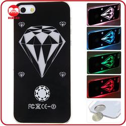 New Hot Diamond Design Hard LED Calling Sense Light Up Phone Case for iphone 5
