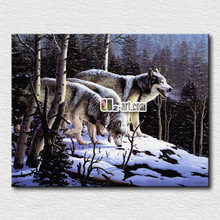 Frames for canvas paintings Modern decor Printed Animal wolves find food in the winter