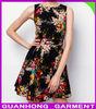 2014 Latest Sleeveless Boat Neckline Black Floral Tie Back Dress Clothing