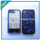 For Apple iPhone 4 4S Hard Hybrid Case Cover Zebra Skin /Blue Silicone