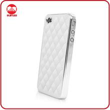 Hot Sale Luxury White Sheepskin Chrome Leather Aluminum Phone Case for Iphone 4 4S 4G