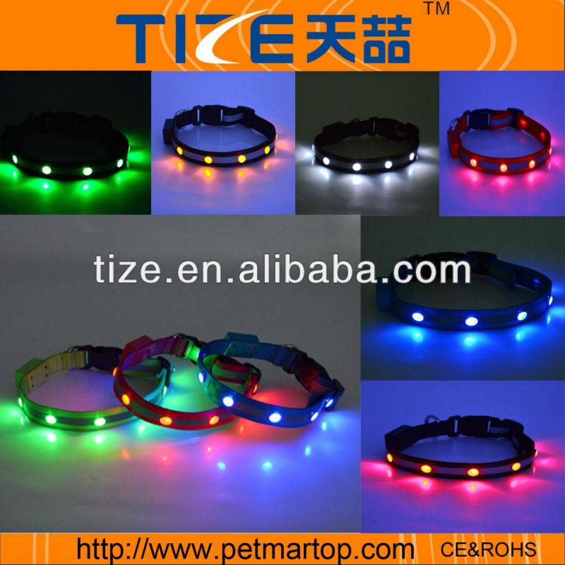 global pet products dog carrier jewel flashing dog collar bright light dog collar TZ-PET1002