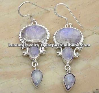 RAINBOW MOONSTONE sterling silver DANGLERS,wholesale SEMI PRECIOUS STONE,GENUINE gemstones earrings
