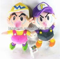 "2X Super Mario Bros Plush Baby BB Wario+Waluigi Soft Toy Doll 23cm/9"""
