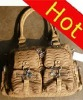 2012 crinkle fashion handbag many pocket many zipper women ladies handbag