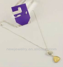 Wholesale beautiful simple foreign trade the original single style yellow diamond white rhinestone pendant necklace
