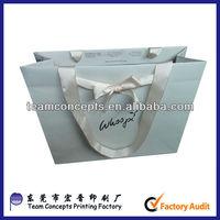 Flat white ribbon handle camouflage printed paper bag