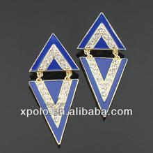 gold tone/blue epoxy/rhinestone triangle/drop earrings