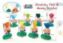 Cute cartoon plastic paper memo clip holder with ball pen