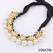 Fashion big pearl ribbon flowers necklace C06A706