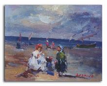 Handmade beach family scenery oil painting on vancas