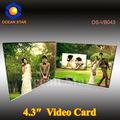 Hd di stampa a colori lcd 4.3'' video carta di nozze