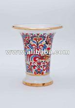 Lomonosov Porcelain Vase, Shape Empire 19 century, Cockerels, Hand painted