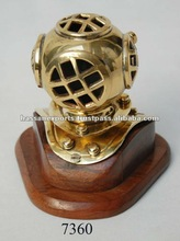 Brass Nautical Diver Helmet on wooden base, nautical diving helmet