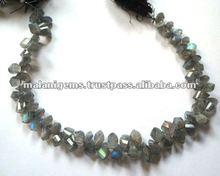 Natural Labradorite Twisted Facet Loose Beads