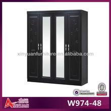 W974-48 cheap 4 door mirrored double glass door wardrobe