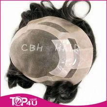 high quality silk human hair man' toupee in extension