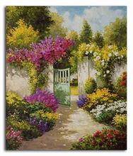 Beautiful flower garden scenery oil painting