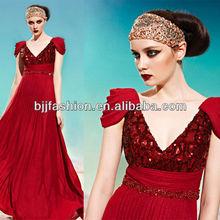 Burgundy V neck High Waist Designer Evening dress cap sleeves