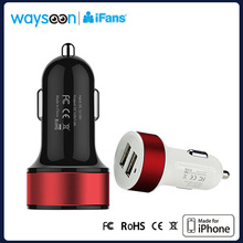 MFI Authorized Dual Usb Output(1A+1A) Car Battery Charger for Two iphones at The Same Time
