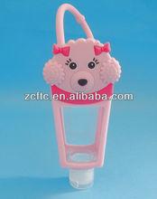 Lovely dog shape silica gel case bottle,hand sofe bottle