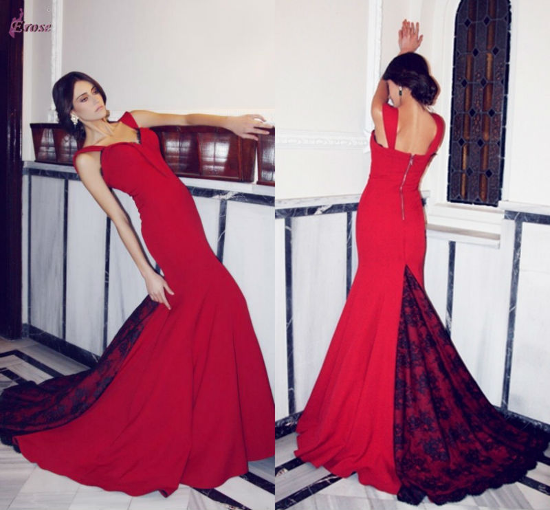 LTK-010 Beautiful Mermaid Red And Black Two Color Turkish Evening Dresses By Designer Sagaza Madrid