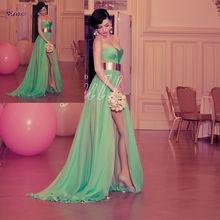 LTK-012 Latest Strapless Big Bust Green Chiffon 2013 Turkish Evening Dresses By Designer Sagaza Madrid