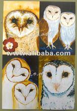 Face barn owls set artwork art print,note cards,postcards
