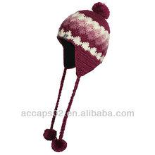 Girls cute crochet winter beanie hat with braid