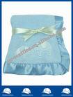 sky blue fleece receiving blanket/baby fleece throw with applique logo/coral fleece throw with satin binding edge