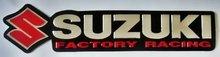 """SUZUKI FACTORY RACING"" Soft aluminum Foil Embossed decals/stickers Motorcycle Motocross"