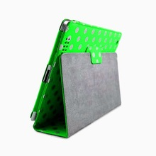 Synthetic Wallet Case w/ Stand for iPad 2 Polka Dots Green