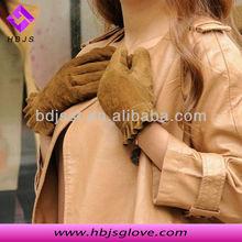 ladies party short suede gloves with dark brown color