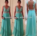 oed125 chão comprimento mangas transparentes corpete de renda vestido de de baile chiffon verde menta vestidos de baile aberto para trás